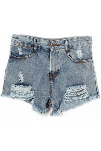 ROMWE | Ripped Zippered Denim Shorts, The Latest Street Fashion