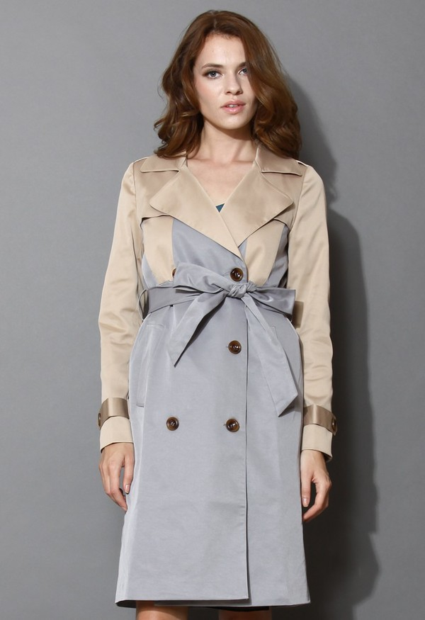chicwish two tone trench coat