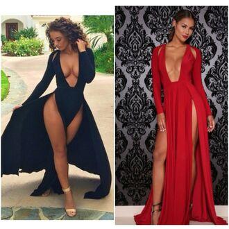 dress black dress maxi dress long dress long sleeves slit dress cut-out dress