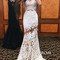 White round neck lace mermaid long prom dress, lace evening dress - 24prom
