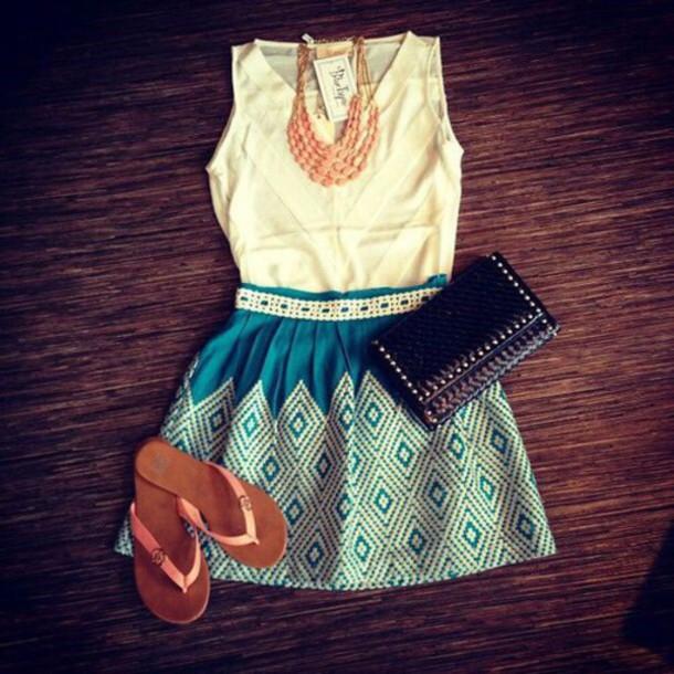skirt top white top blue skirt