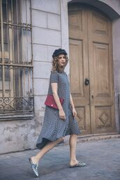 shoes,gucci princetown,gucci,gucci shoes,slide shoes,floral shoes,midi dress,black and white dress,short sleeve dress,short sleeve,streetstyle,hat,black hat,bag,red bag,chanel,chanel bag,shoulder bag,checkered,asymmetrical,asymmetrical dress,spring outfits,printed slippers
