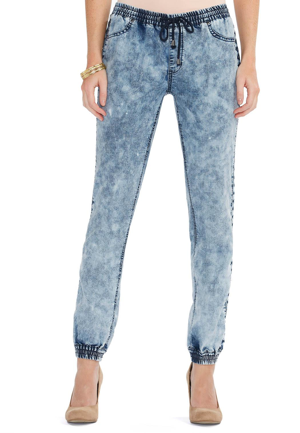 Acid Wash Denim Jogger Pants Denim Cato Fashions