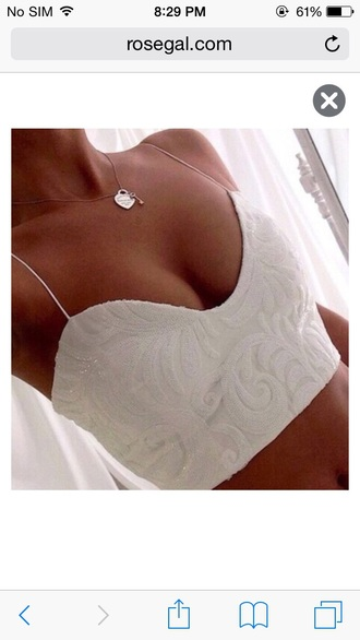 sexy crop white summer top crop tops cute top white crop tops spaghetti strap cropped bustier white bustier bralette girly girl girly wishlist beautiful pretty jewels jewelry necklace style fashion boobs cleavage summer accessories