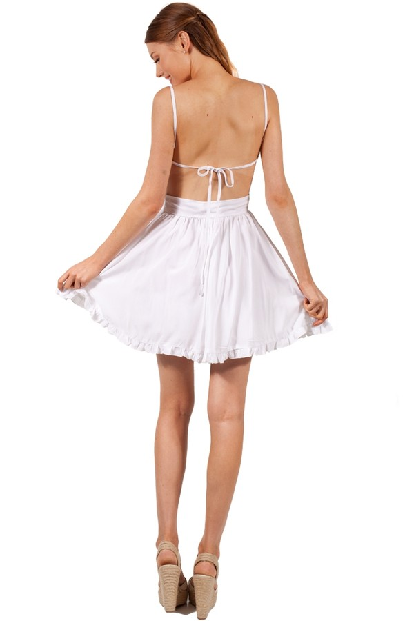 dress lady luck ask grace white dress white skater dress backless cute summer ruffle