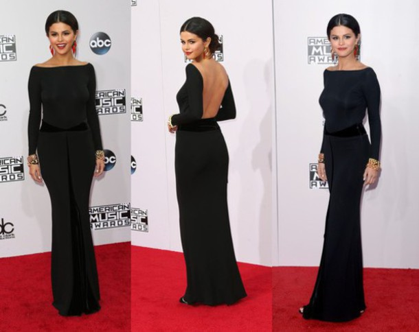 selena gomez evening dress prom dress long dress backless dress hair accessory