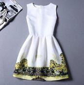 dress,farm,cow,asian,tree,sleeveless,white dress,summer dress,white,country,horeses,green