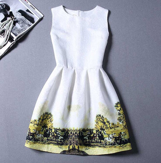 dress farm cow asian tree sleeveless white dress summer dress white country horeses green