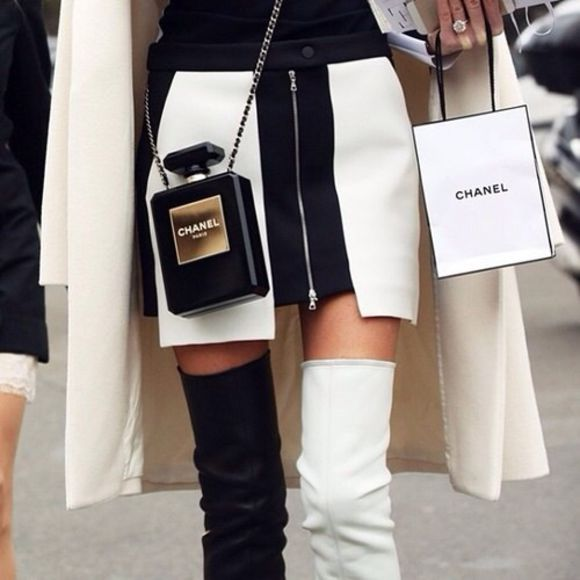 zip white black chanel skirt copy panel tumblr model shoes b&w bag
