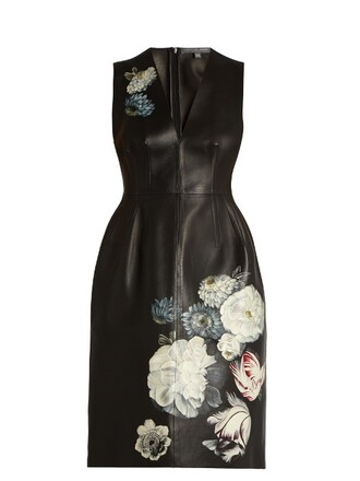 dress leather dress flowers leather black