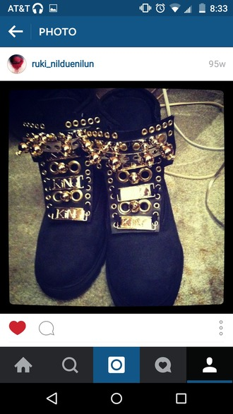 shoes black gold boots