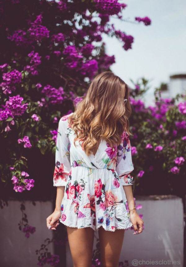 floral romper romper white kenza flowers summer outfits casual jumpsuit flowers floral romper fashion preppy tumblr outfit