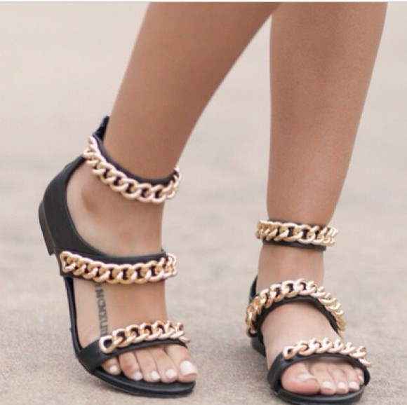 gold chains shoes sandals