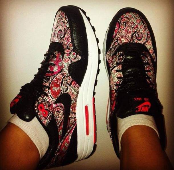 shoes nike nike shoes nike air nike air max 1 red black flowers white  floral air