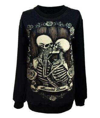 sweater black white brown skulls skeltons kissing dead roses