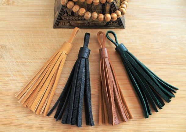 Home Accessory Leather Leather Tassel Brown Leather