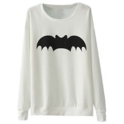 Black Batman Long Sleeves White Pullover | Clothia