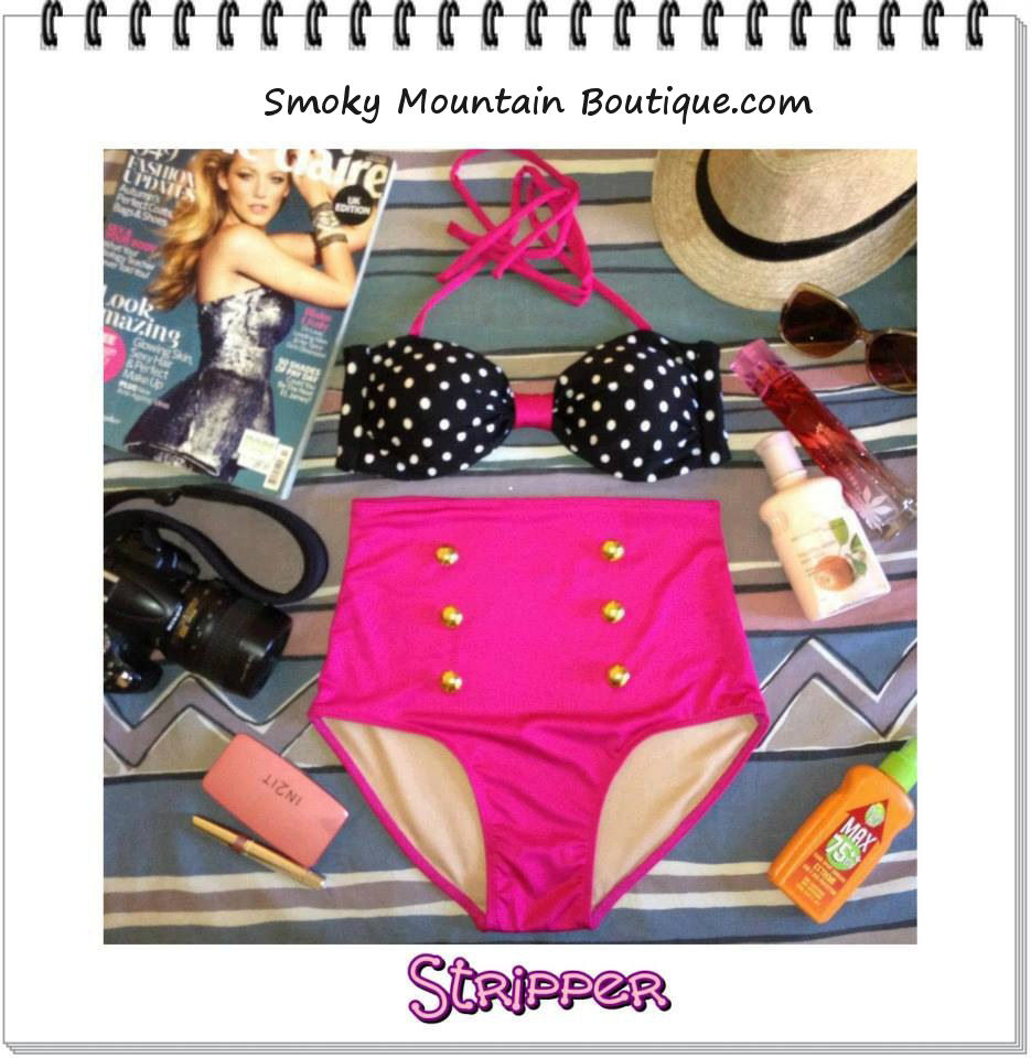 Stripper High Waist Swimsuit - Black & White Polka Dot Top and Pink Bottoms