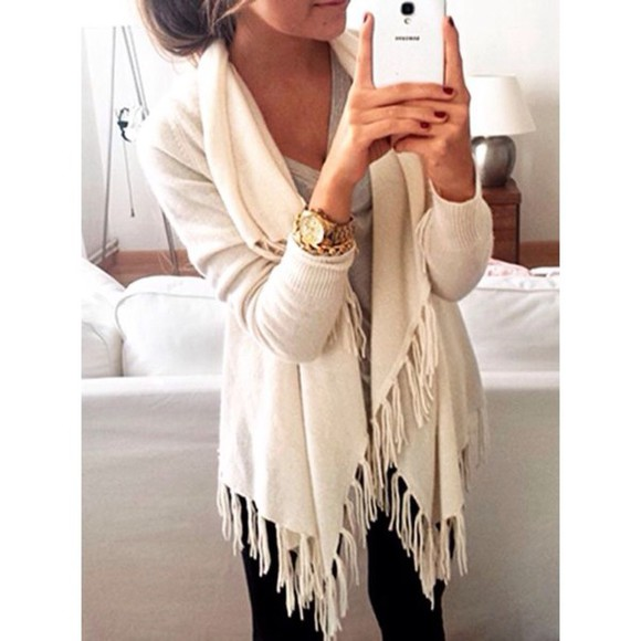 fringe cardigan fringe, top, fall sweater ivory