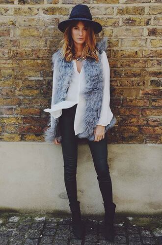 jacket fluffy grey winter outfits warm vest faux fur vest fur vest fall outfits hat grey fur vest