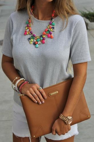 jewels statement necklace multicolor gemstone rhinestones aliexpress bag