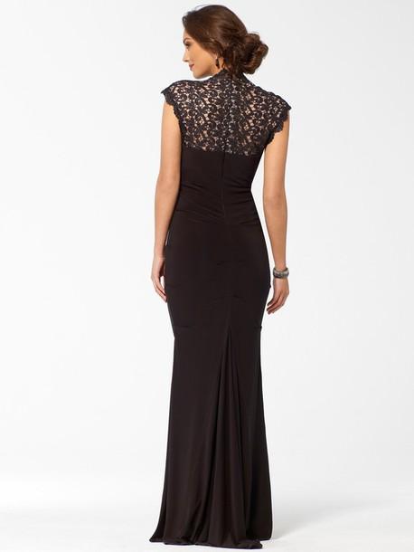 dress blackeveningdress black gown lace net mermaid dresses tightfit