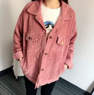 jacket girly girl pink corduroy fashion corduroy jacket button up corduroy velventeen outerwear aesthetic tumblr cute kawaii ulzzang kfashion korean fashion south korean