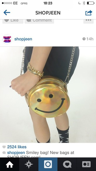 smiley face bag holographic