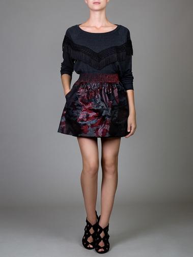 Metallic rose and charcoal shimmer camo flared mini skirt