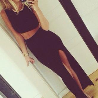 skirt black long slit crop tops tank top ebonylace.storenvy ebony lace ebonylace247 ebonylace-streetfashion dress black leather skirt classy maxi skirt