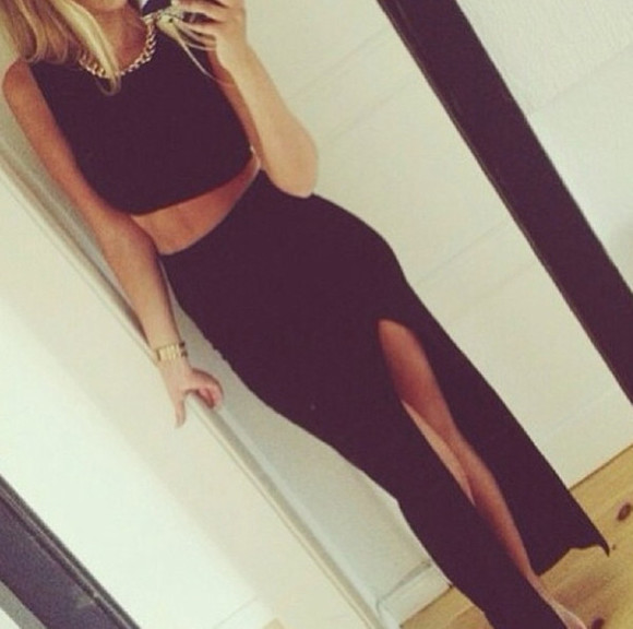 skirt crop tops black slit long rihanna