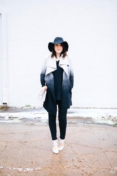kendi everyday blogger felt hat winter coat ombre sweater jeans coat shoes bag hat