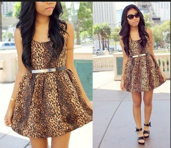 print dress summer dress cheetah print short dress