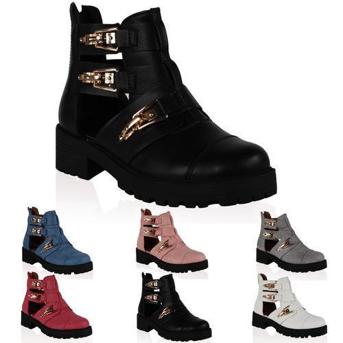Damen Pu Leder Frauen Cut Out Chunky Sohle Knöchel Boots Schuhe Gr 36-41 | eBay