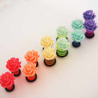 jewels ear plug flowers rose floral colorful bright 2g girly grunge vibrant fake plugs
