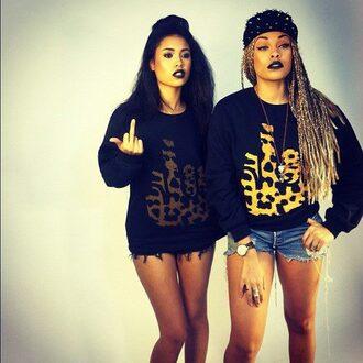 sweater black clothes cheetah print urban dope