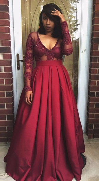 dress burgundy prom long sleeves lace dress plus size dress prom dress