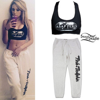 tank top asap ferg top sweatpants pants