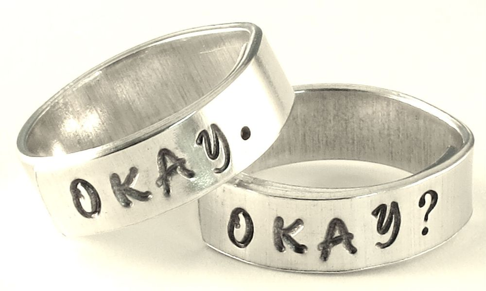 Okay? Okay. Cloud Inside Two Hand Stamped Aluminum Spiral Rings Set Pair Friends