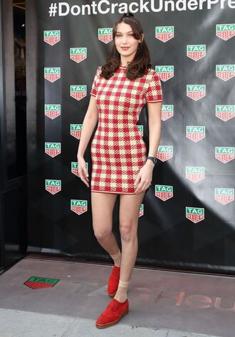 dress mini dress bella hadid model off-duty flats spring outfits spring dress plaid shoes red shoes bodycon dress