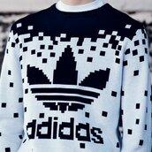 sweater,adidas,adidas sweater,adidas crew neck,black and white,pixel,sweatshirt,black,white,cardigan