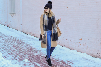 ohsoglam blogger coat shoes sunglasses bag belt scarf hat beanie camel coat ankle boots handbag