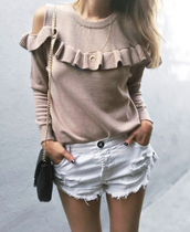 sweater,nude sweater,white shorts,tumblr,knit,knitted sweater,denim,denim shorts,shorts,necklace,ruffle,ruffle sweater,jewels,jewelry,gold,gold necklace,gold jewelry,crescent pendant,horn necklace,horn