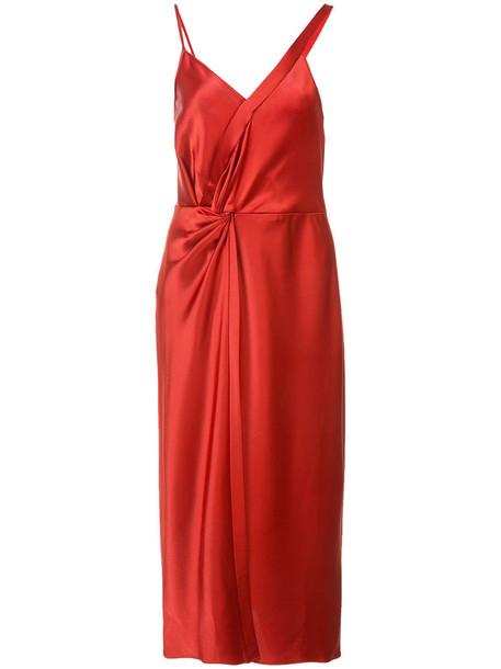T by Alexander Wang dress midi dress women midi satin red
