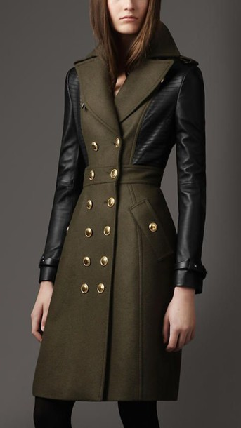coat double breasted coat olive green coat coat with leather sleeves double breasted leather sleeves burberry black leggings