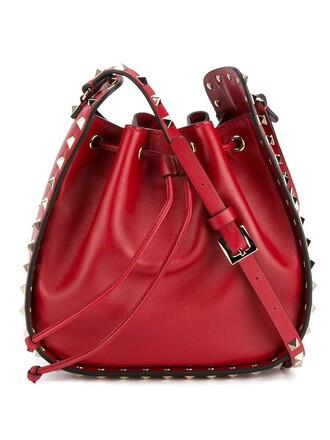 metal women bag shoulder bag leather cotton red