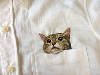 blouse white simple shirt white shirt white cotton shirt kitten pockets embrodiery cats cute pretty