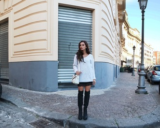 marie zamboli blogger oversized sweater knee high boots sweater bag skirt shoes jewels