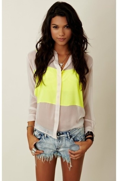 blouse shirt neon girl clothes yellow bright cute pretty lovely bag necklace jewelry brunette tan summer spring jeans white neon yellow