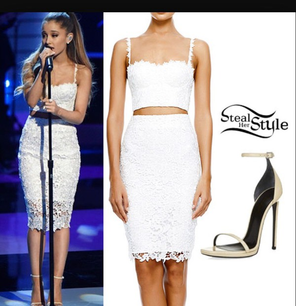 Top: lace, ariana grande, white crop tops, midi skirt, skirt ...